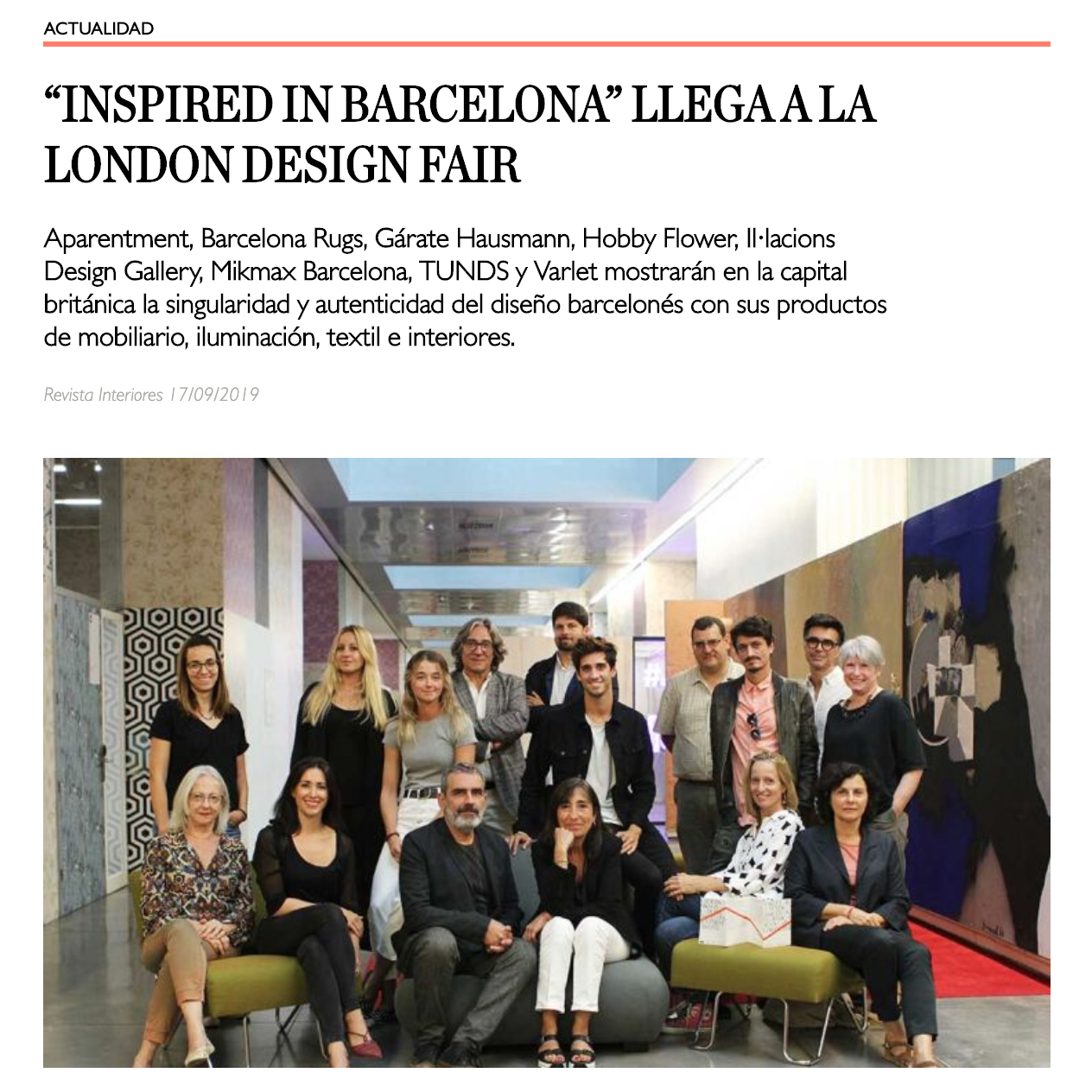"REVISTA INTERIORES: ""INSPIRED IN BARCELONA"" 2019"